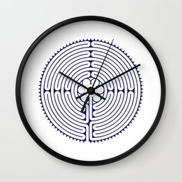 Cathedral of Our Lady of Chartres Labyrinth - Blue Wall Clock