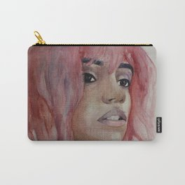 Girl with pink hair. Watercolor art Carry-All Pouch