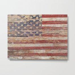 Americana Rustic Flag A643 Metal Print