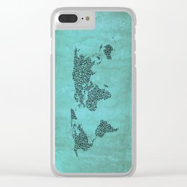 Teal Star World Map Clear iPhone Case