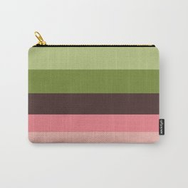 Olive Green & Pink Colorful Stripes Colour Block Carry-All Pouch