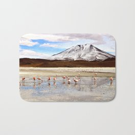 Pink Flamingos & a Peak in the Andes Bath Mat