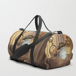 Steampunk, beautiful cat with steampunk hat Duffle Bag