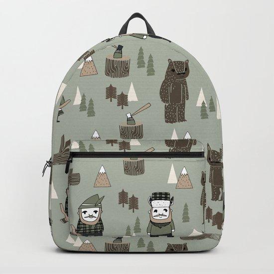 Forest lumberjack and bear nursery kids cute woodland camper gifts Backpack