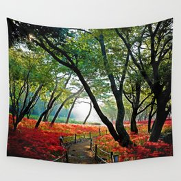 Path through Twilight Resurrection Lily Forest Wall Tapestry