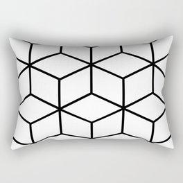 Black and White - Geometric Cube Design I Rectangular Pillow