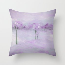 Purple Landscape with Trees Throw Pillow