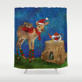 Christmas Tea Party Shower Curtain