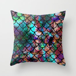 Abstract Black Fish Scales Pattern Throw Pillow