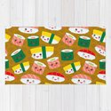 pattern Kawaii funny sushi set with pink cheeks and big eyes, emoji on brown mustard background by ekaterinap