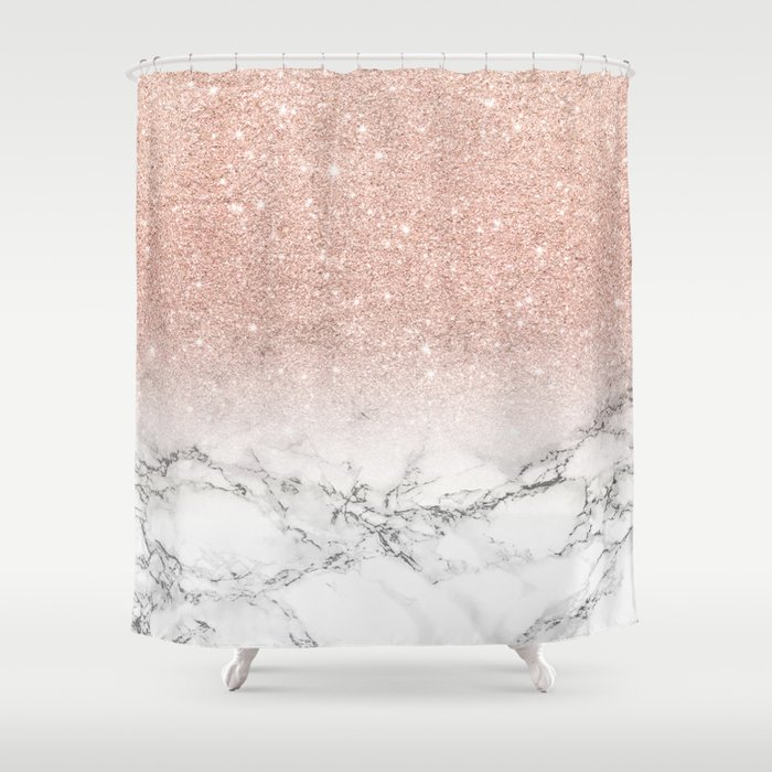 Modern faux rose gold pink glitter ombre white marble Shower Curtain