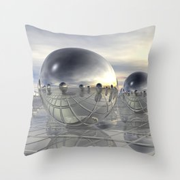 Reflecting 3D Spheres Throw Pillow