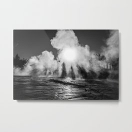 Eerie steam from Yellowstone Metal Print