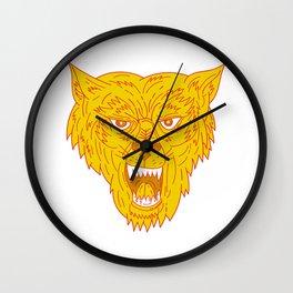 Angry Wolf Head Mono Line Wall Clock