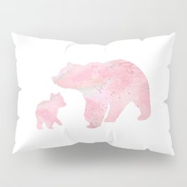 Mother Bear and Cub Art Colorful Pink Watercolor Art Gift Animals Art Kids Gift Mothers Art Pillow Sham