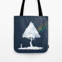 hunting Tote Bags featuring colourful hunting by Steven Toang