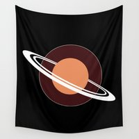 saturn Wall Tapestries featuring Orange Saturn by Andrew Formosa