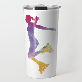 Woman in roller skates 03 in watercolor Travel Mug