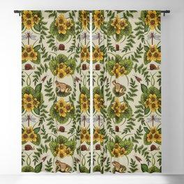 Wetlands Creatures - Toads, Snails, Dragonflies & Marsh Marigolds Blackout Curtain