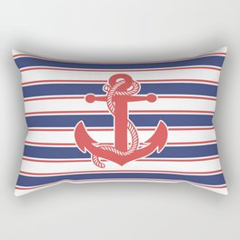 Sailor Stripes and Anchor Pattern 13 Rectangular Pillow