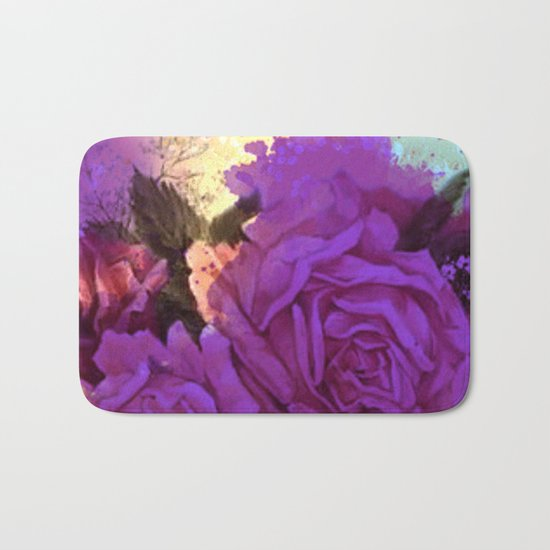 purple roses and light Bath Mat