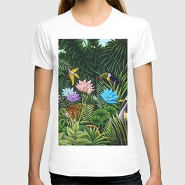 Classical Masterpiece 'Tropical Birds and Flying Things' by Henry Rousseau T-shirt