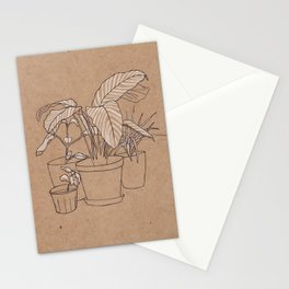 black and white house plants Stationery Cards