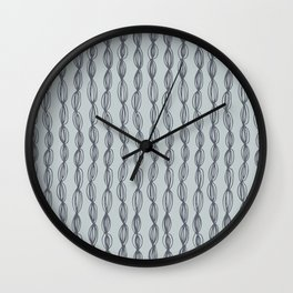 Geometric abstract hand painted gray pastel green dots stripes Wall Clock