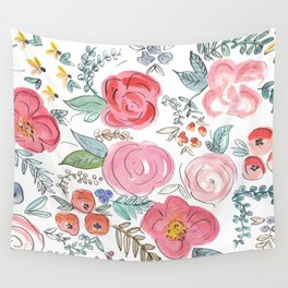 Watercolor Floral Print Wall Tapestry