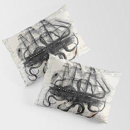 Octopus Kraken Attacking Ship on Old Postcards Pillow Sham
