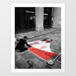 Street Art in Bologna Black and White Photography Color Art Print