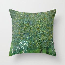 Gustav Klimt Rosebushes Under The Trees Throw Pillow