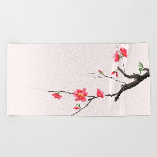 red Japan begonia Beach Towel