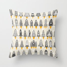 retro rockets mono Throw Pillow