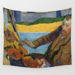 1888 - Gauguin -  Vincent van Gogh painting sunflowers Wall Tapestry