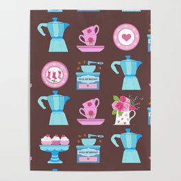 Coffee Lovers Moka, Coffee grinder, Espresso cups and cake! Poster