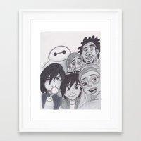 big hero 6 Framed Art Prints featuring Big Hero 6 Selfie by Alice's Art
