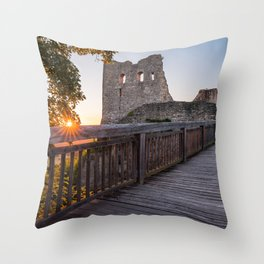 Sunset on castle ruin Wolfstein Throw Pillow