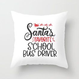 Christmas school bus driver, schoolbus Throw Pillow