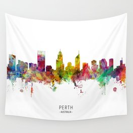 Perth Australia Skyline Wall Tapestry