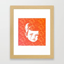 Faces - crying gypsy boy on a red and orange floral background Framed Art Print