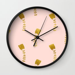 Pink Gold Foil 03 Wall Clock