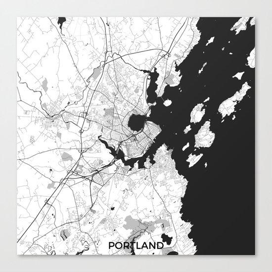 Portland Maine Map Gray Canvas Print