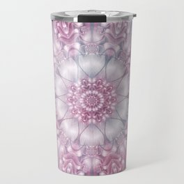 Dreams Mandala in Pink, Grey, Purple and White Travel Mug