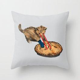 Laser-Eyed Kitten with a Mitten Throw Pillow