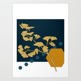 Gingko and hexagons Art Print