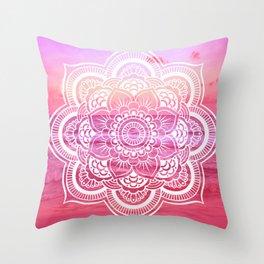 Water Mandala Hot Pink Fuchsia Throw Pillow
