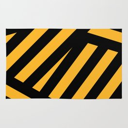 Black and yellow abstract striped Rug
