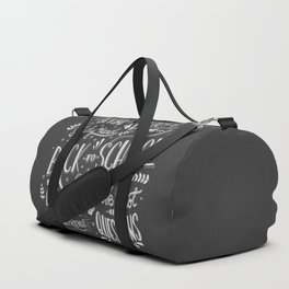 Back to school typography drawing on blackboard with motivational messages, hand lettering Duffle Bag
