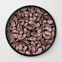 Gold Amethyst Paisley pattern Wall Clock